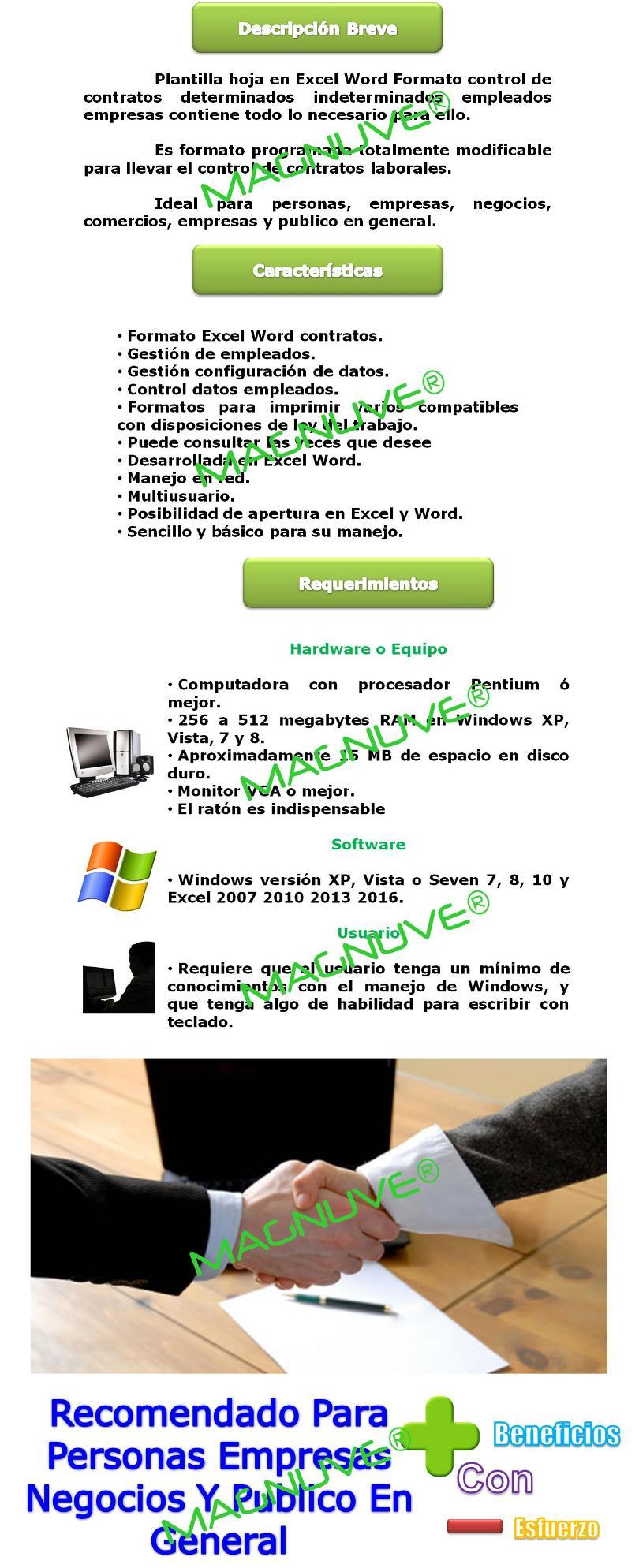 Hoja Plantilla Formato Excel Word Contrato Trabajo Laboral
