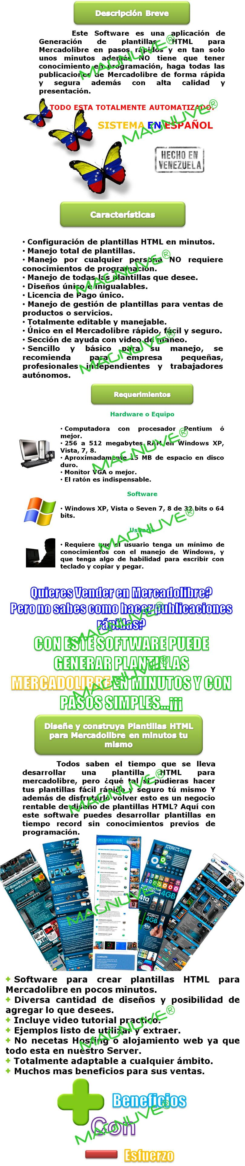 Sistema Software Web Generador Plantillas Html Mercadolibre Ventas