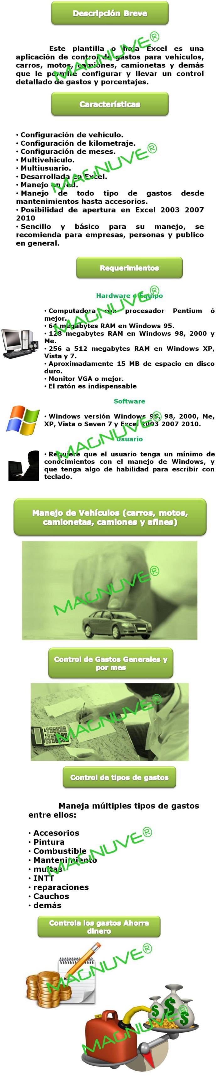 Plantilla Hoja Excel Control Gastos Vehículos Carros Motos